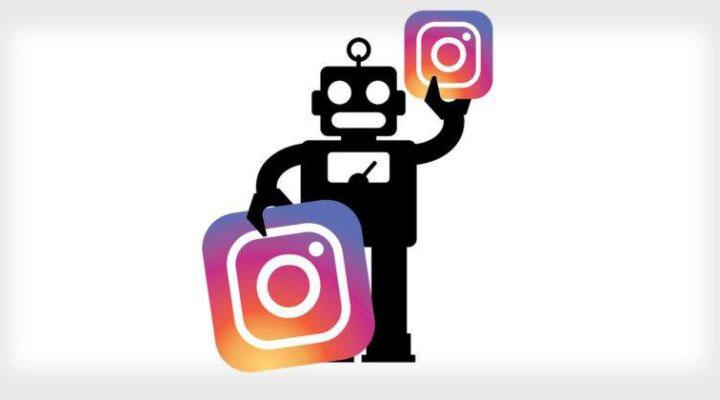 عکس ربات با لوگوی اینستاگرام
