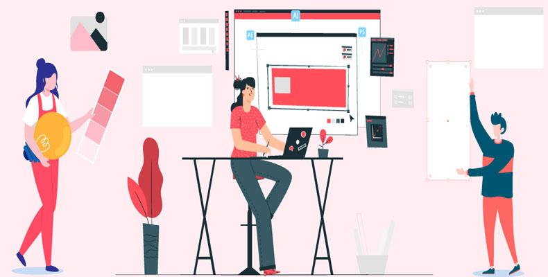طراحان در حال طراحی برای شبکه ی اجتماعی